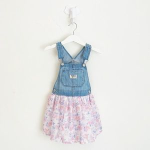 OshKosh Floral Denim Jumper Dress Size 3T